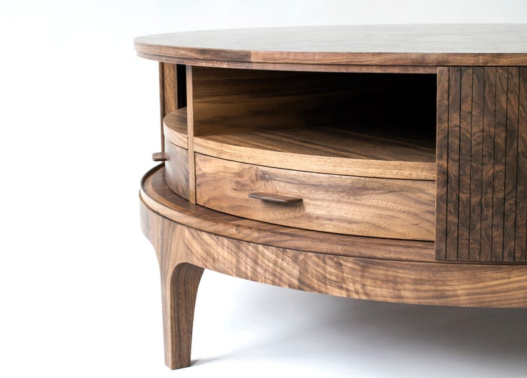 Poritz Studio Tambour Coffee Table, Walnut In New Condition For Sale In New York, NY