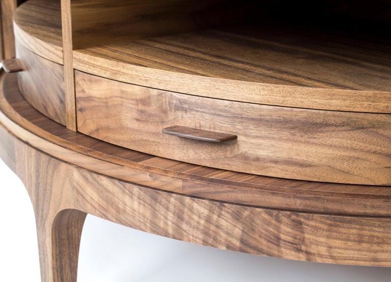 Contemporary Poritz Studio Tambour Coffee Table, Walnut For Sale