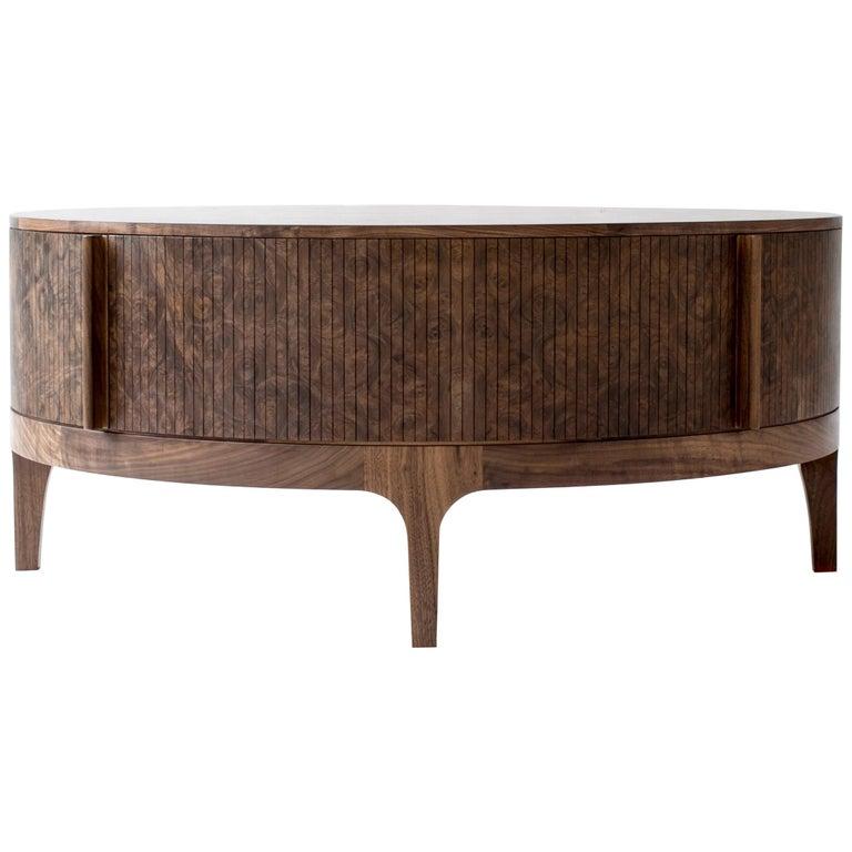 Poritz Studio Tambour Coffee Table, Walnut For Sale