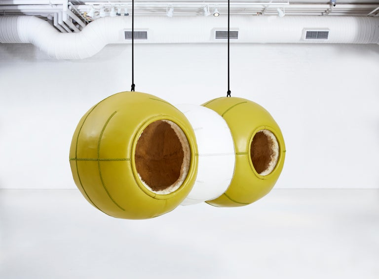 • A new collection of leather hanging pods by internationally acclaimed artist Porky Hefer, titled Molecules, will form the booth's centrepiece. The series comprises three large hanging orbs whose titles point to the chemical compounds they
