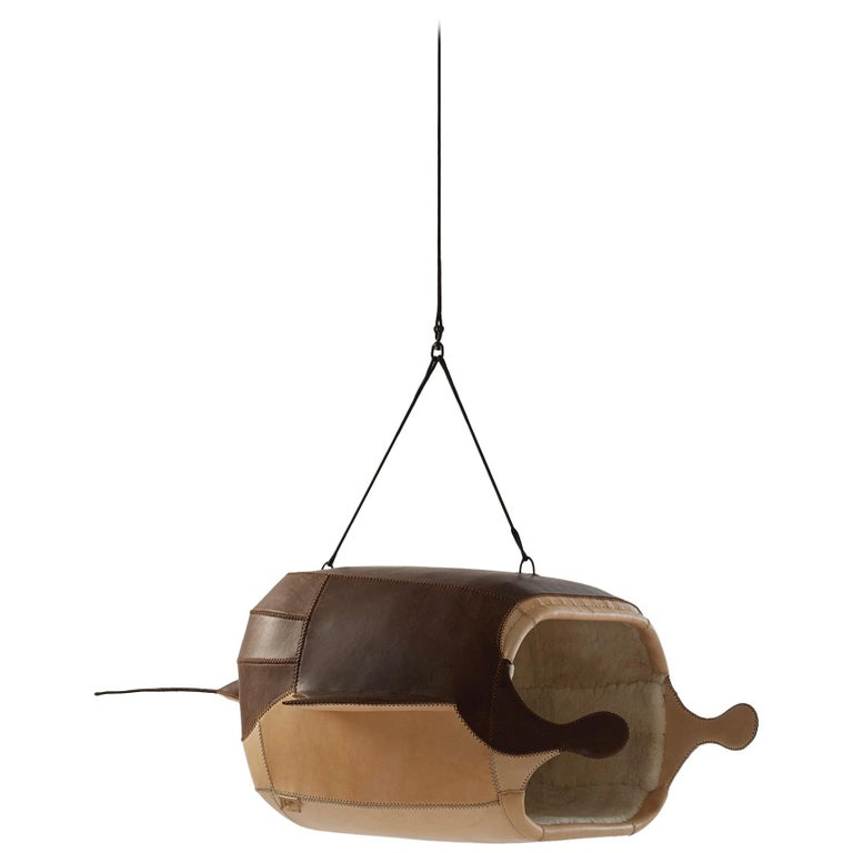 """Porky Hefer, """"M.Heloise: Manta Ray """", Leather and Sheepskin Seating Pod For Sale"""