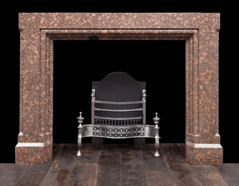 Carved Porphyry Fireplace For Sale