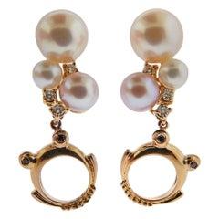 Porrati Diamond Pearl Gold Frog Drop Earrings