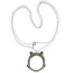 Porrati Gold Diamond Green Sapphire Frog Pendant Necklace