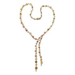 Porrati Multi-Color Sapphire Diamond Gold Necklace
