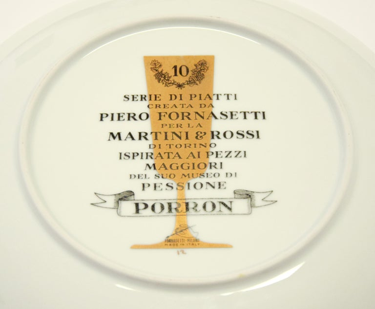 Porron Plate for Martini & Rossi, by P. Fornasetti, 1960s In Excellent Condition For Sale In Roma, IT