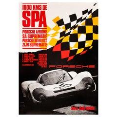 Porsche 1000 Kilometers of Spa Original Vintage Factory Poster, German, 1969
