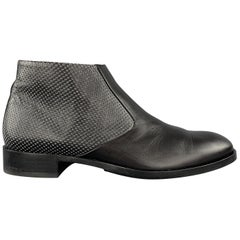PORSCHE DESIGN Size 10 Black Perforated Leather Side Zipper Ankle Boots