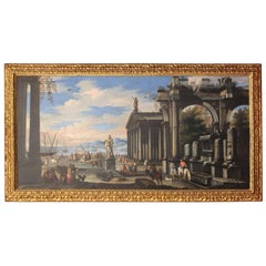 Port and Classical Architectural Ruins Painting by Giovanni Ghisolfi, 1670