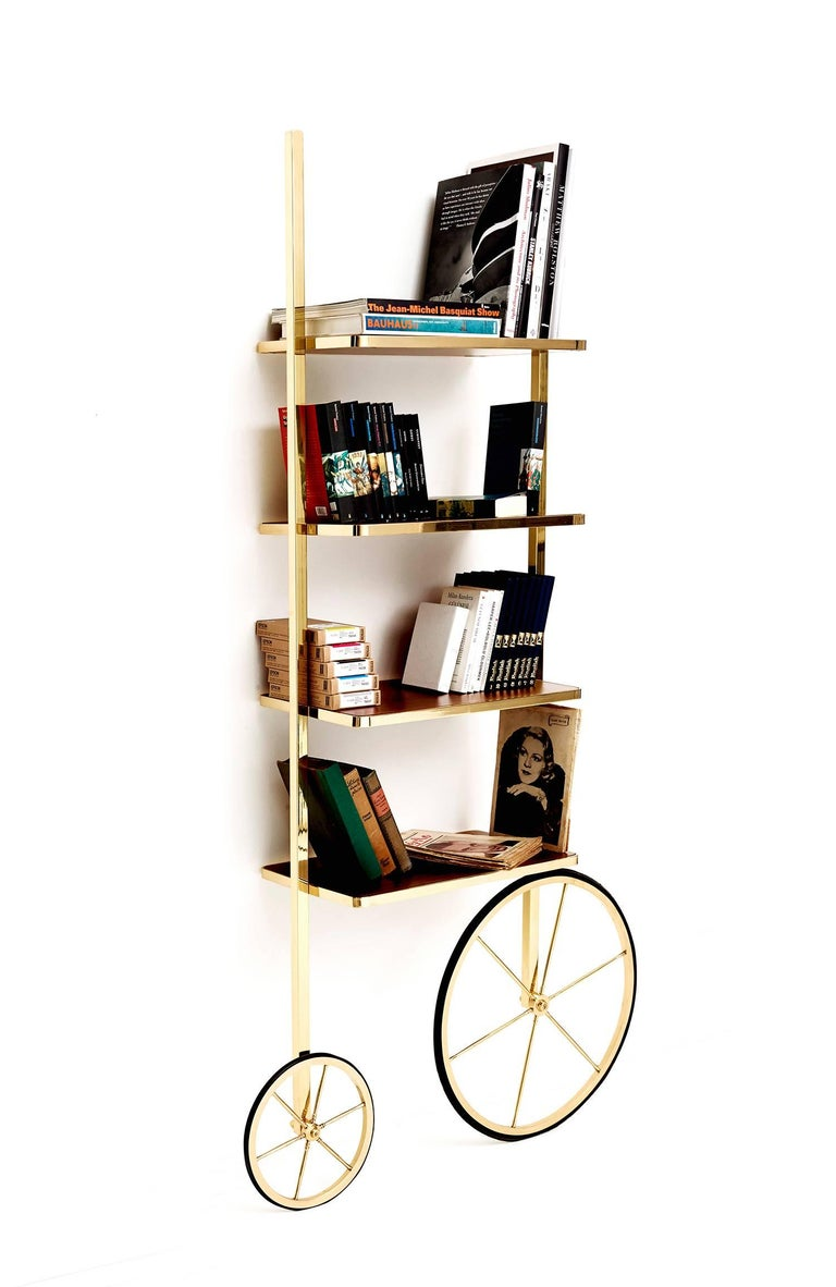 Arts and Crafts Portable Polished Brass and Mahogany Cyclopedia Bookshelf with Wheels For Sale