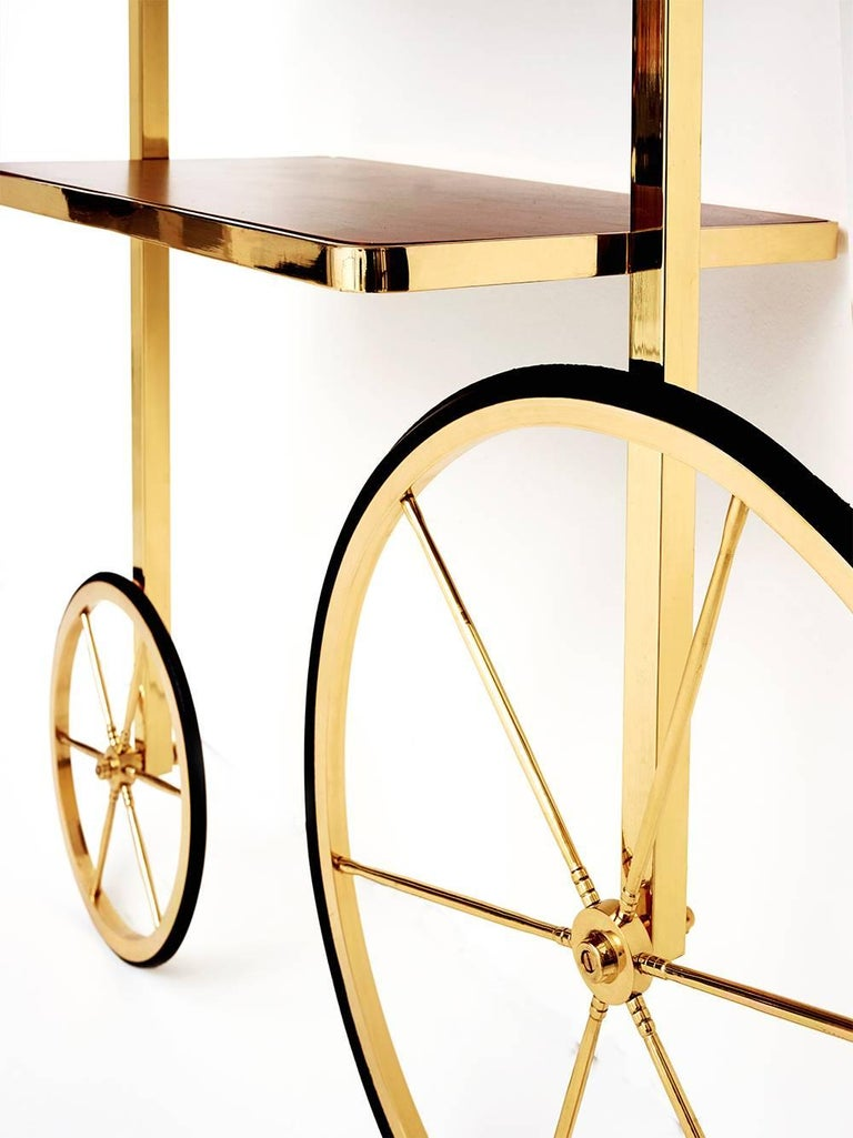 Turkish Portable Polished Brass and Mahogany Cyclopedia Bookshelf with Wheels For Sale