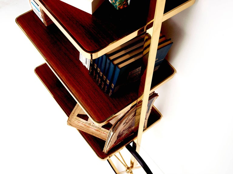 Portable Polished Brass and Mahogany Cyclopedia Bookshelf with Wheels In New Condition For Sale In Istanbul, TR