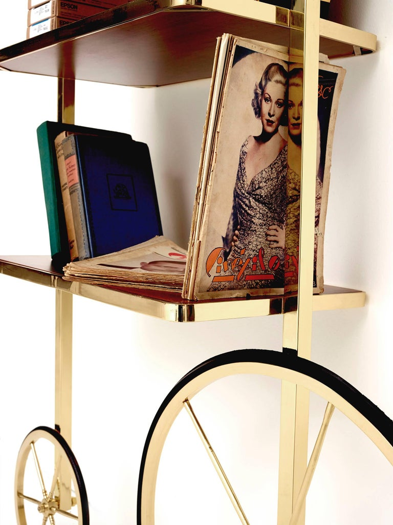 Contemporary Portable Polished Brass and Mahogany Cyclopedia Bookshelf with Wheels For Sale