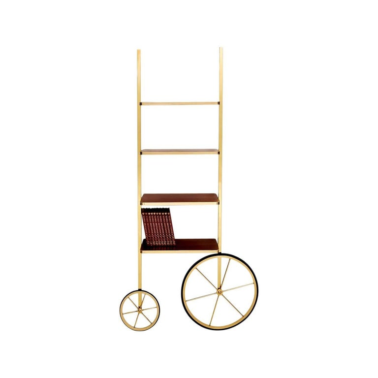 Portable Polished Brass and Mahogany Cyclopedia Bookshelf with Wheels For Sale