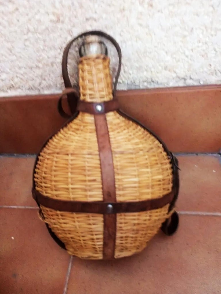 Rustic Portable Wine Bottle Cooler, Glass, Wicker and Leather, Spain Early 20th Century For Sale