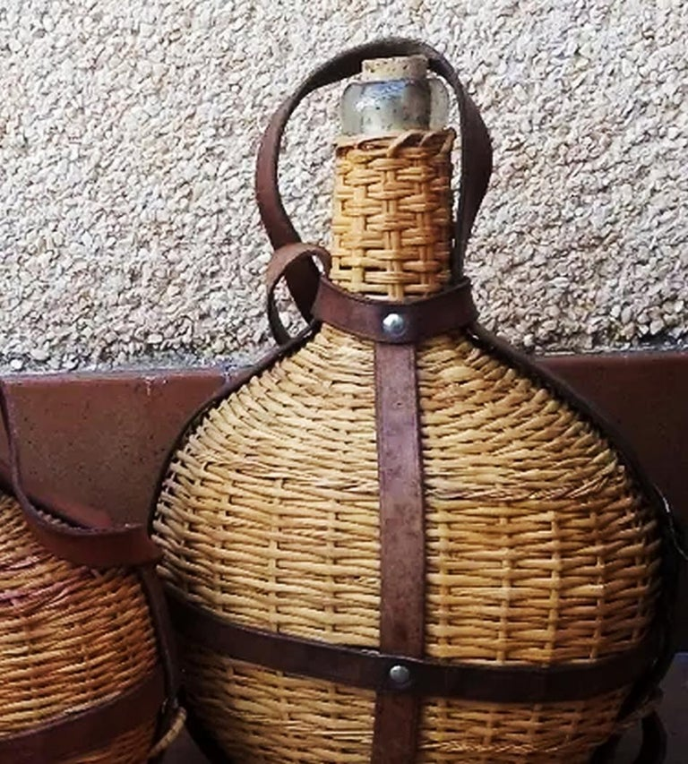 Portable Wine Bottle Cooler, Glass, Wicker and Leather, Spain Early 20th Century For Sale 1