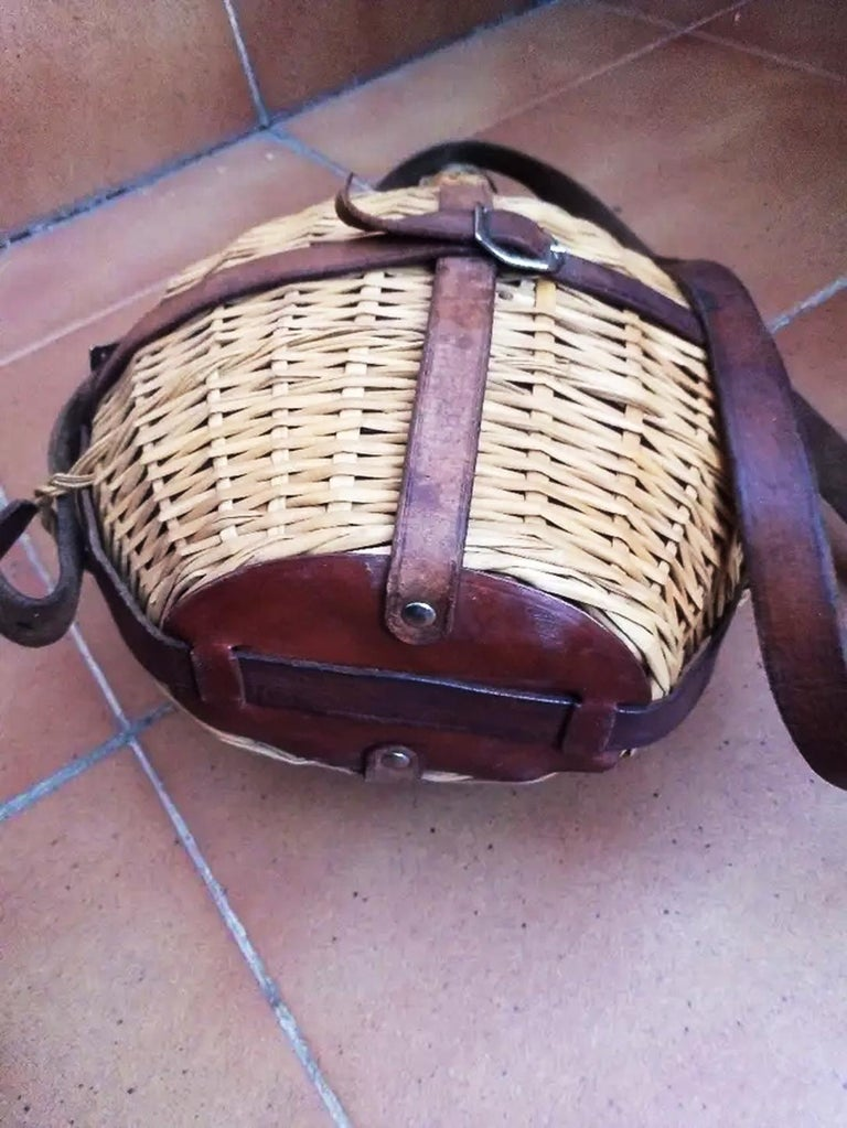 Portable Wine Bottle Cooler, Glass, Wicker and Leather, Spain Early 20th Century For Sale 2