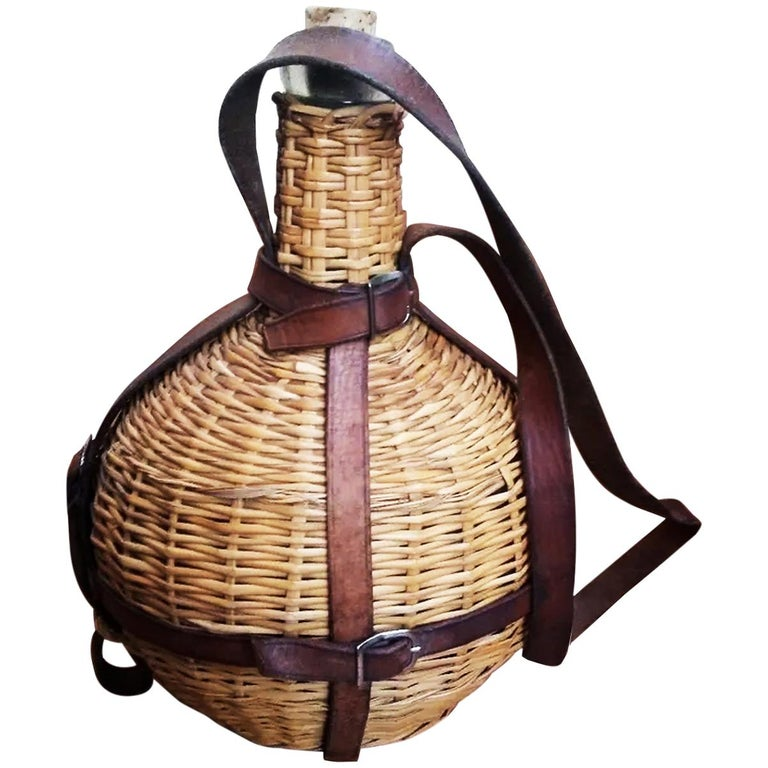 Portable Wine Bottle Cooler, Glass, Wicker and Leather, Spain Early 20th Century For Sale