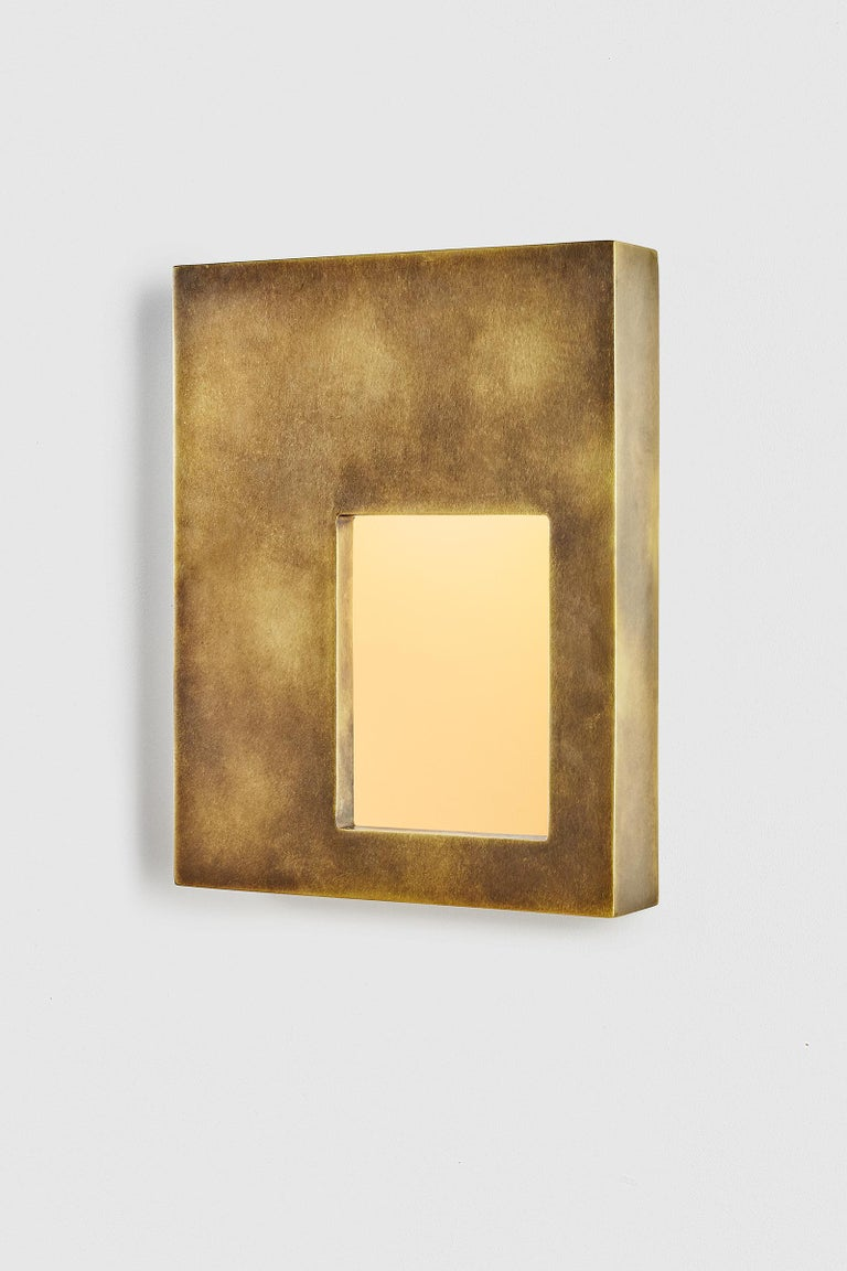 American Portal Sconce Rectangle in Antique or Polished Brass For Sale