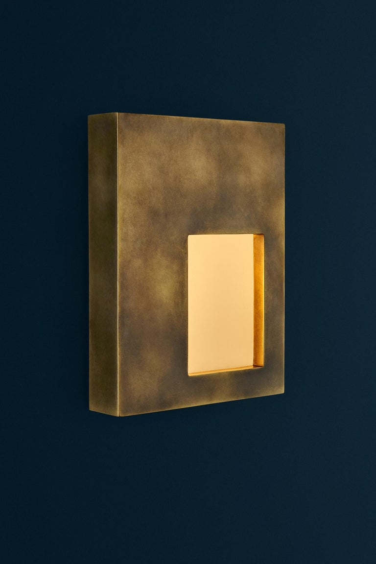 Contemporary Portal Sconce Rectangle in Antique or Polished Brass For Sale