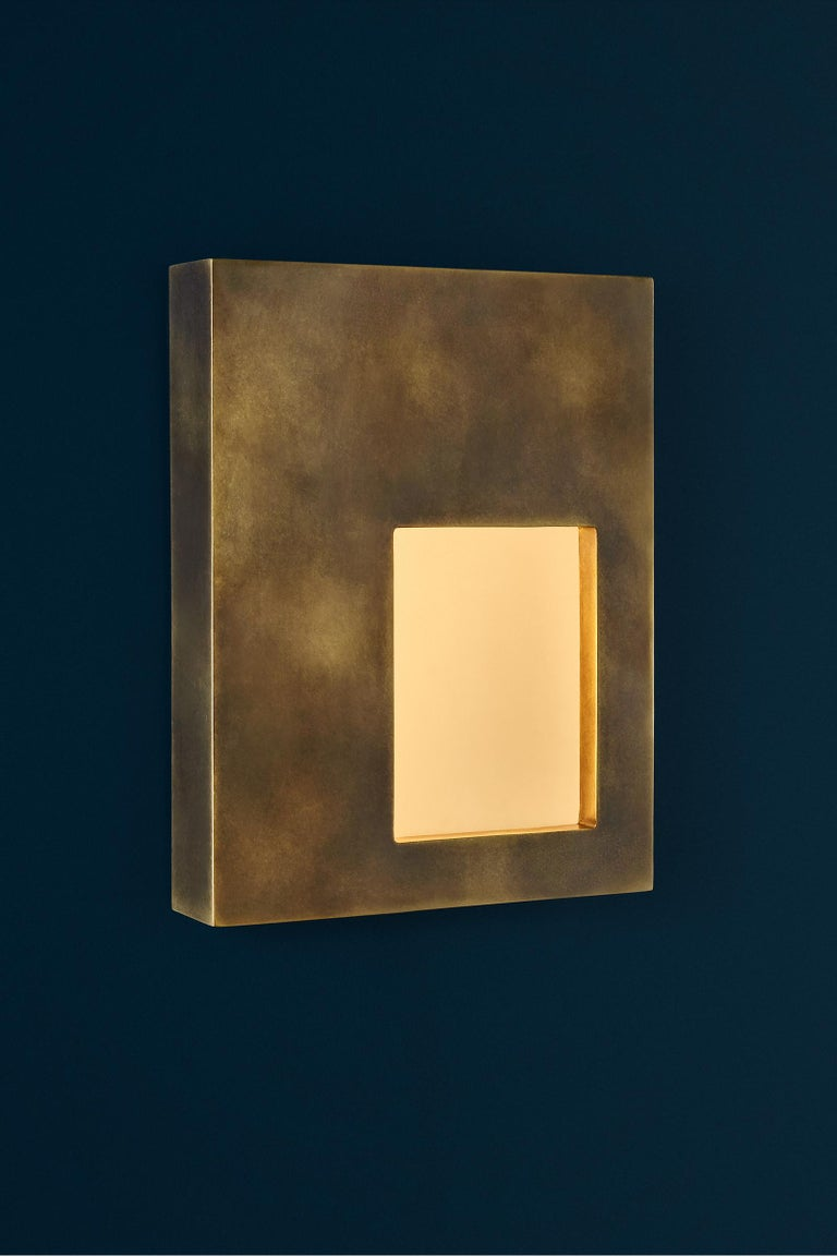 Portal Sconce Rectangle in Antique or Polished Brass For Sale 1