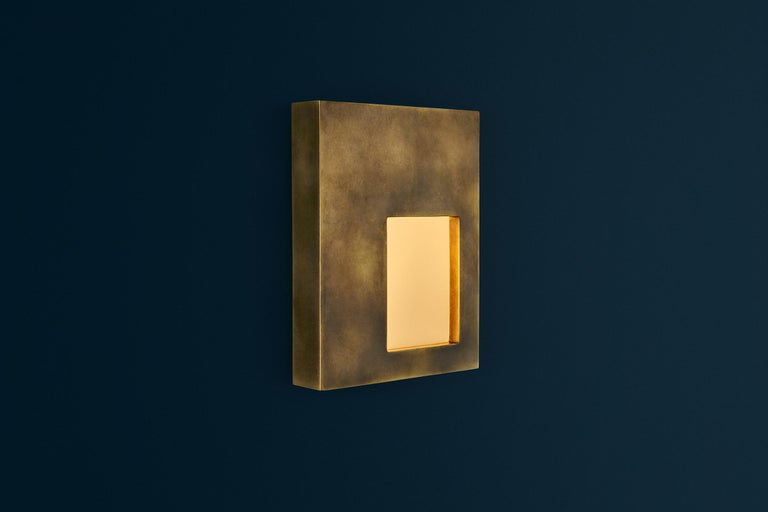 Portal Sconce Rectangle in Antique or Polished Brass For Sale 2