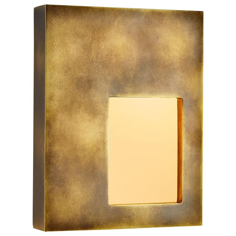 Portal Sconce Rectangle in Antique or Polished Brass For Sale