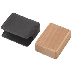 Portapillole Con Custodia Wooden Pillbox with Leather Case by Bottega Ghianda