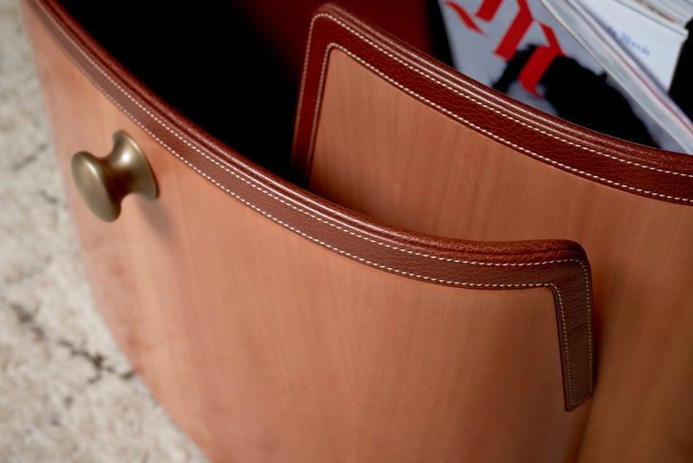 Modern Portariviste Magazine Rack in Wood & Leather by Bottega Ghianda For Sale