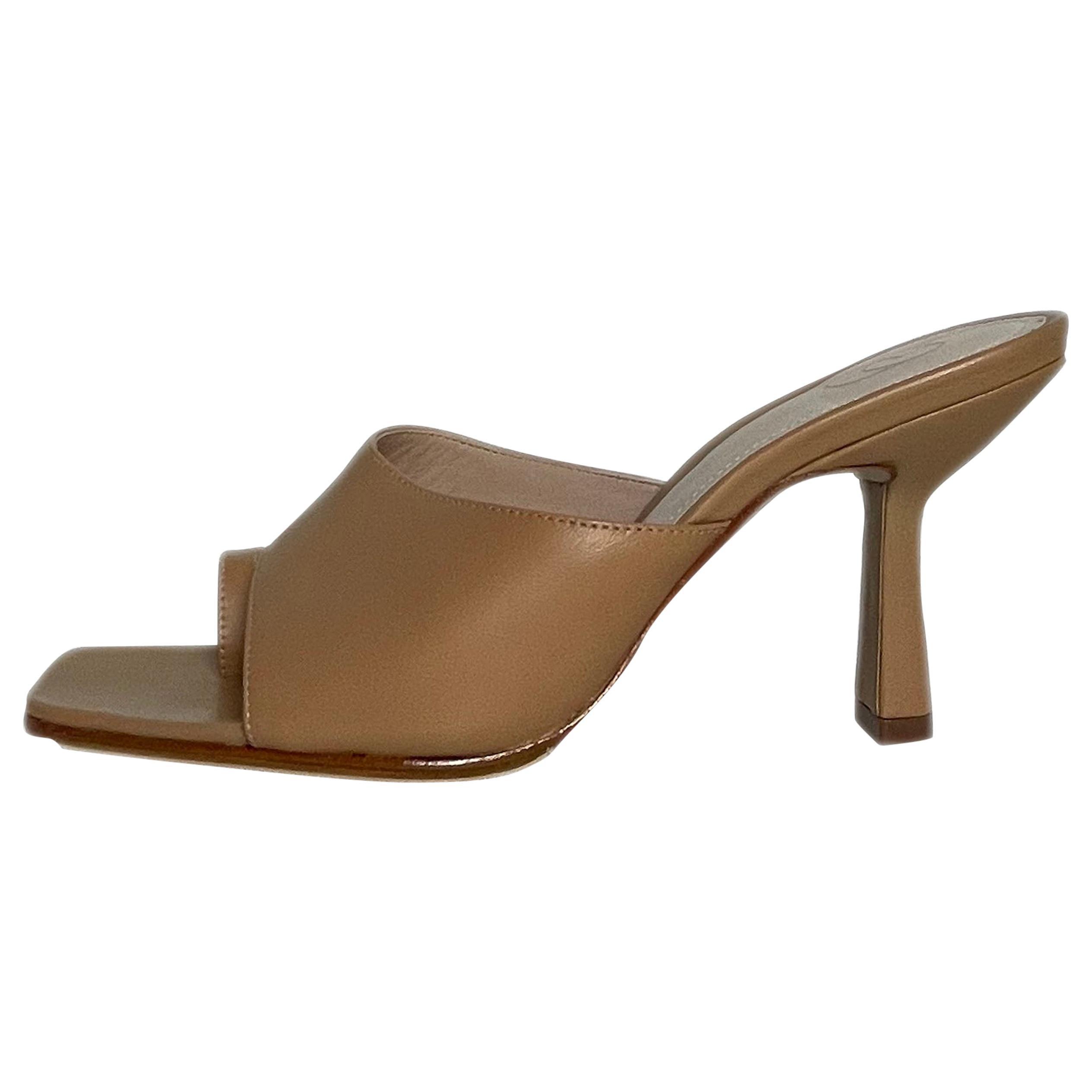 Porte & Paire Sand Leather Mules Heels sz 36.5 rt. $290