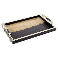 Porteño Large Black/Cream Hand Painted Wood and Alpaca Silver Tray