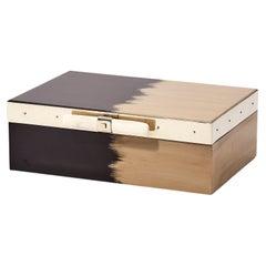 Porteño Medium Black & Cream Hand Painted Wood Box
