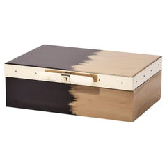 Porteño Small Black & Cream Hand Painted Wood Box