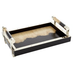 PORTEÑO Small Black & Cream Hand Painted Wood Tray