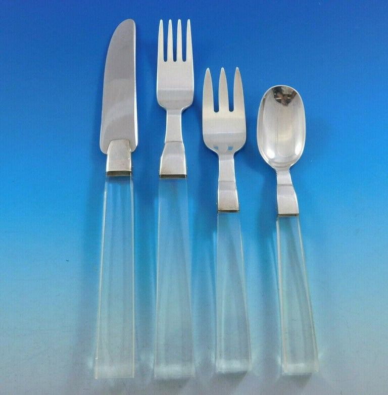 Porter Blanchard Sterling Silver & Lucite Flatware Set Service 60 Pieces Modern For Sale 1