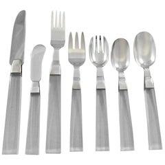 Porter Blanchard Sterling Silver & Lucite Flatware Set Service 60 Pieces Modern