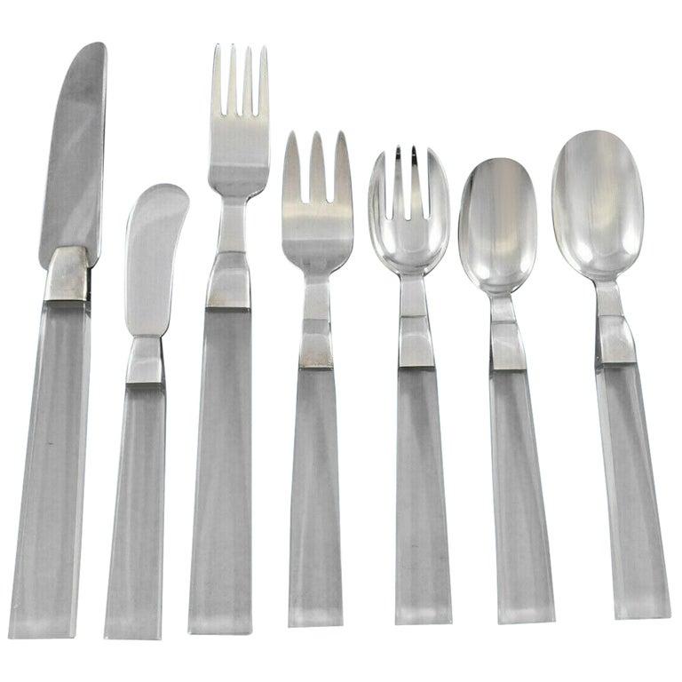 Porter Blanchard Sterling Silver & Lucite Flatware Set Service 60 Pieces Modern For Sale