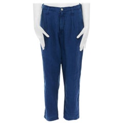 PORTER CLASSIC JAPAN Katsu 100% linen indigo blue drop crotch trousers S 29""