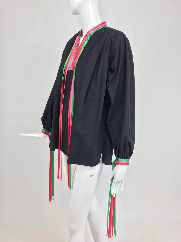 Porter House Regina Porter black cotton ribbon trim peasant blouse 1970s For Sale 5