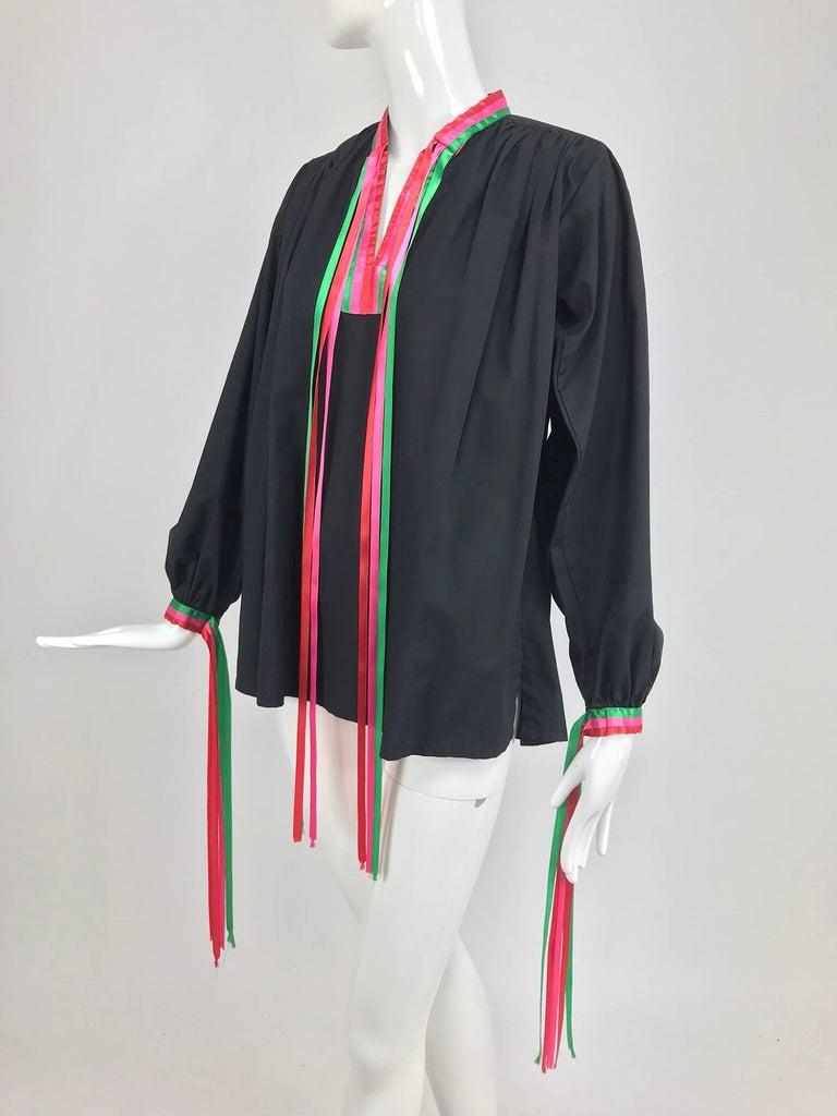 Porter House Regina Porter black cotton ribbon trim peasant blouse 1970s For Sale 7