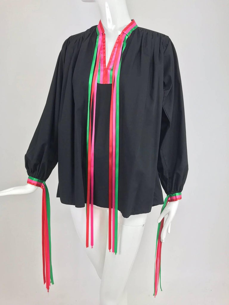 Porter House Regina Porter black cotton ribbon trim peasant blouse 1970s For Sale 8