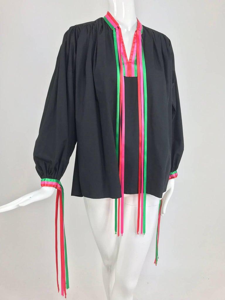 Porter House Regina Porter black cotton ribbon trim peasant blouse 1970s For Sale 9