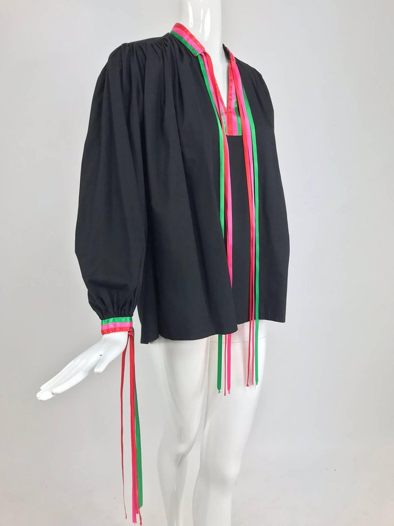 Porter House Regina Porter black cotton ribbon trim peasant blouse 1970s In Excellent Condition For Sale In West Palm Beach, FL