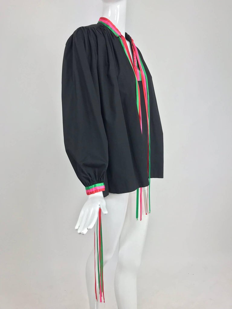 Women's Porter House Regina Porter black cotton ribbon trim peasant blouse 1970s For Sale