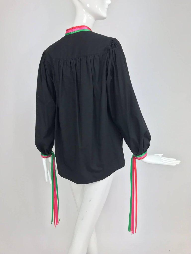 Porter House Regina Porter black cotton ribbon trim peasant blouse 1970s For Sale 1