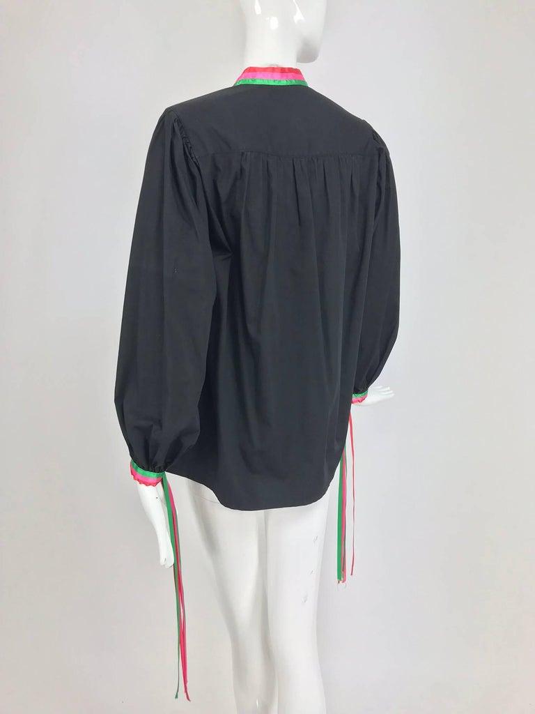 Porter House Regina Porter black cotton ribbon trim peasant blouse 1970s For Sale 4