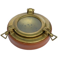 Porthole, Ashtray in Brass and Leather, 1960s Designed by Gucci, Italy, 1960s