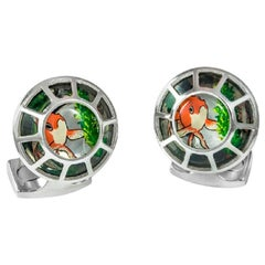 Deakin & Francis Porthole Cufflinks With Fish Centre