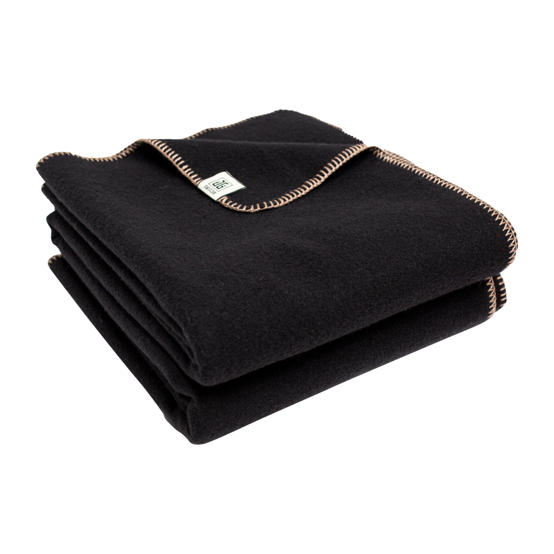 Portia Black Merino Wool Blanket with Alpaca and Silk Finish, Porch Blanket