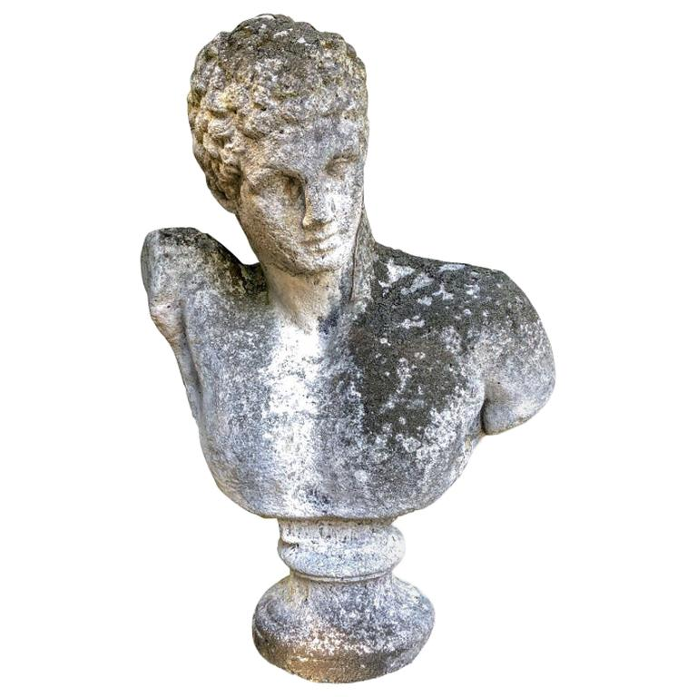 Portland Cement Garden Bust of The Greek God Hermes, after A 4th C. BCE Original For Sale